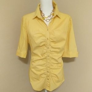 New York & Company yellow ruched blouse Size L
